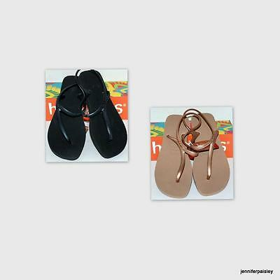 HAVAIANAS BNWT SLIM LADIES THONGS FLIPFLOPS URBAN BLACK  ROSE GOLD Rear Strap