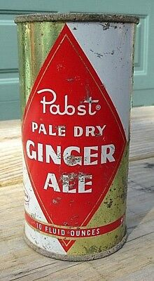 Vintage 1950's Pabst Ginger Ale Soda 10 FL OZ Flat Top Can Top Open