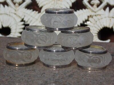 6 x Vintage Silver Plate Napkin Rings in Moulded Frosted Glass