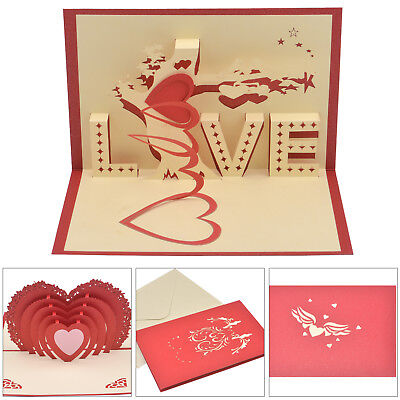3D Pop Up Card Heart-shaped Greeting Cards Wedding Birthday New Year Gift