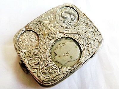 Antique/Vintage Silver Plated Multiple Coin Holder with 2X George V Silver Coins