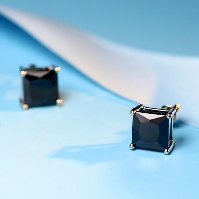 Surgical 316L Stainless Steel Stud Earrings Cubic Zircon Round Men Black Crystal