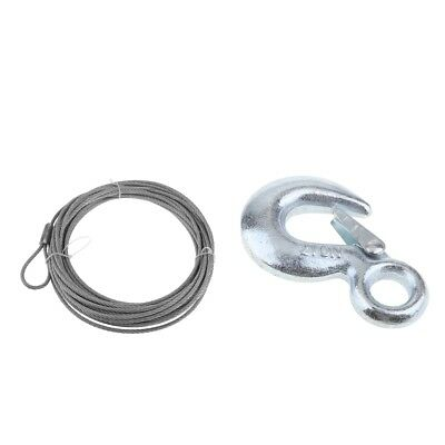 """Heavy Duty Silver 0.19"""" 40.03 ft ATV Winch Rope +Clevis Grab Hook With Latch"""