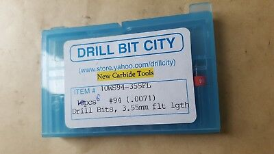 6 Pcs Of Drill Bit City New Carbide 10Ws94-355Fl #94 .0071 Drill Bits 3.55Mm Flt