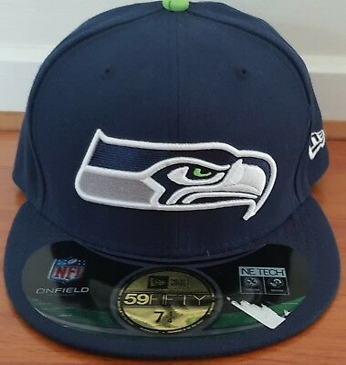 NFL Seattle Seahawks On Field Sideline New Era 59Fifty FITTED Cap NWT - 7 1/4