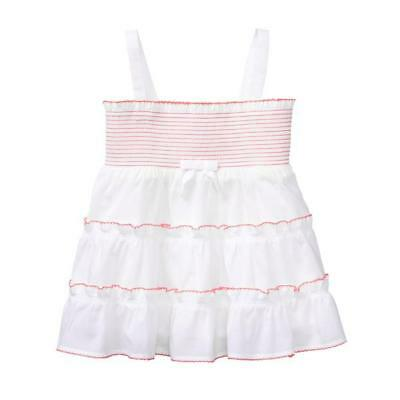NWT Janie and Jack Girls Summer Tropics White Smocked Tiered Ruffled Top Size 12