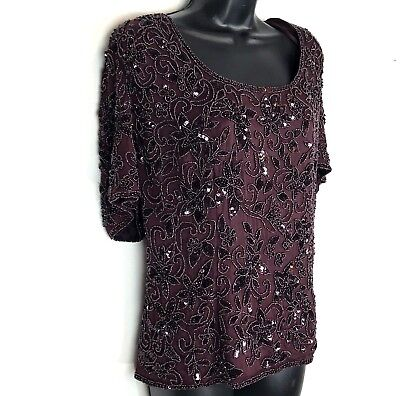 Adrianna Papell Evening Womens 18 Jacket sequin fully beaded sequin silk black