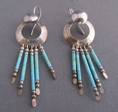 Vintage Old Pawn Sterling Round Turquoise Tassel Pierced Dangle Earrings