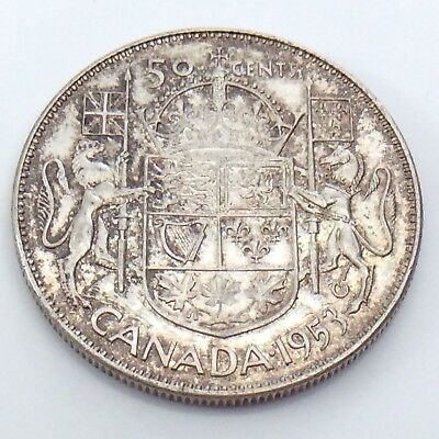 1953 Small Date Canada Fifty50 Cent Half Dollar King George Circulated Coin G771