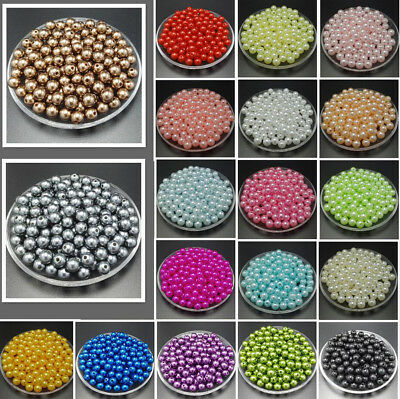 50pcs 10mm DIY Acrylic Round Pearl Spacer Loose Beads Jewelry Making beaded