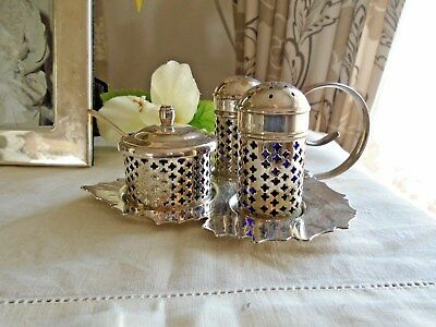 Vintage Silver Plate 4 Piece Condiment Set In The Shape Of A Leaf