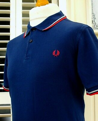 Fred Perry M3600 Navy Twin Tipped Polo - XL - Mod Ska Scooter Casuals Skins