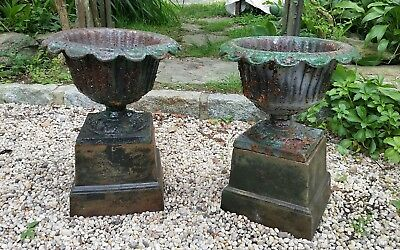 Antique Cast Iron Garden Planter Urns With Bases Pair 629 00