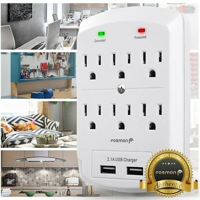 6 Outlet Surge Protector With 2 USB Ports Wall Charger Adapter Tap [ETL listed]