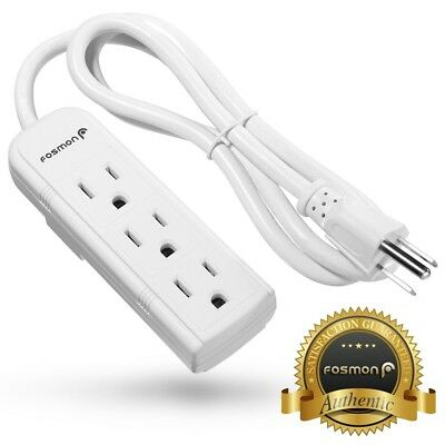 Fosmon UL Listed 3FT Grounded 3 Outlet Plug 16 AWG Heavy Duty Power Strip Cord