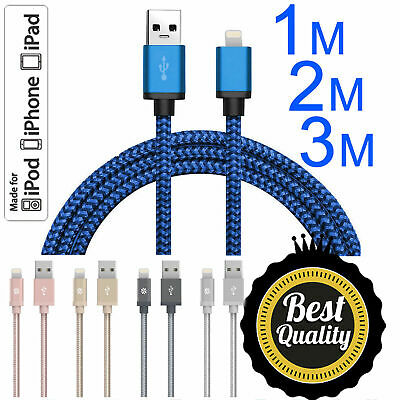 USB to Lightening Braided Cable Lead for Apple iPhone 5/5s 6/6s UK Free Postage