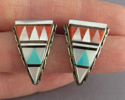 Vintage Old Pawn Zuni Triangle Multi Gemstone Inlay Dangle Pierced Earrings