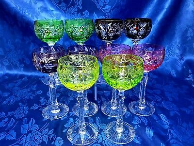 Gorgeous Set Of 10 Multicolor Cut To Clear Wine Hocks Glasses  Bohemian Stemware