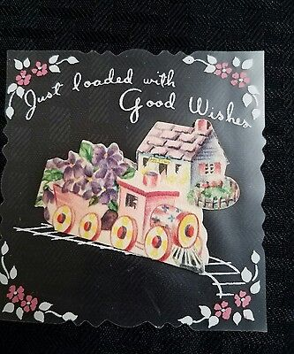 Vintage Birthday Greetings Card Cottage Train Violets Small Old Die Cut Shabby