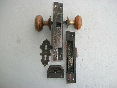 Victorian Antique Brass Door Knobs With Lock Assembly Backplates & Escutcheon