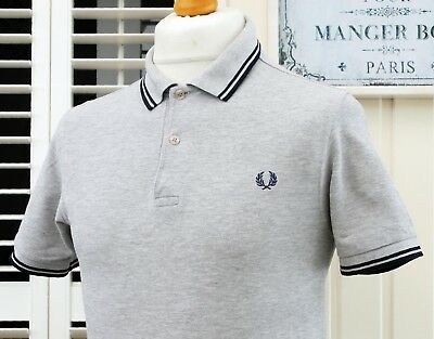 Fred Perry M1200 Grey Marl Twin Tipped Polo - S/M - Ska Mod Scooter Casuals