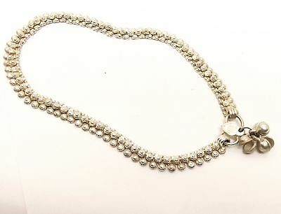 Vtg Pure Silver Anklet Bell Bead Ankle Bracelet India Rajasthan Belly Dancer