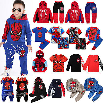 Toddler Kids Boys Spiderman Tracksuit Hoodie Sweatshirt Outfits Clothes Costume