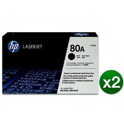 2-PACK NEW ORIGINAL  HP 80A (CF280D) Black Genuine LaserJet Toner  Retail Box