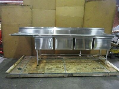 "EAGLE 113"" X 27""  4 BAY COMPARTMENT WELL SINK 20x20x14"" deep bowls w/drain board"