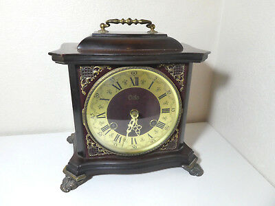 Vintage Odo Chiming Wooden Cased Bracket Clock Mantel Mechanical Time Piece