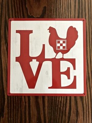 Love Red Hen Chicken Coop Sign Purina Tin New 2018