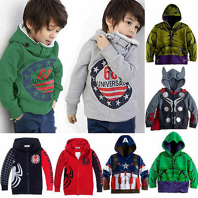 Kids Girls Boys Superhero Hoodie Jacket Coat Sweatshirt Cosplay Costumes Outwear