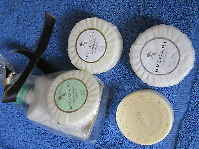 Collection Of 4 Bulgari Travel Soaps + Lotion Mint New