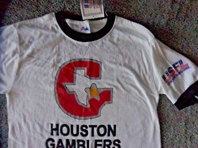 9a4efca69 VINTAGE USFL HOSTON GAMBLERS RINGER T-SHIRT NEW WITH TAGS by MAJESTIC