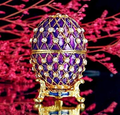 Luxury Crafts Purple Easter Faberge Russian Egg Decorate Collectible Box Gift