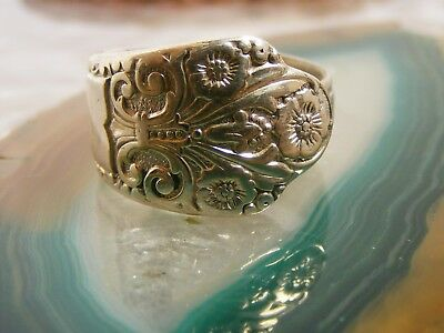 Antique Sterling Silver Spoon Flower RING Size: 7