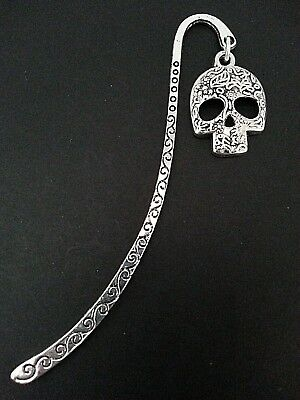 New Antique Silver Metal Bookmark with Patterned Skull Charm Goth Accessory Gift