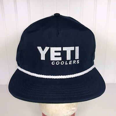 0127e063b2d NEW YETI COOLERS Adjustable Hat NAVY Snapback Boat Trucker Rope ...