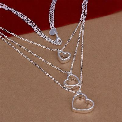 Silver Plated Elegant Charm Triple Chain Hanging Heart Pendant Necklace