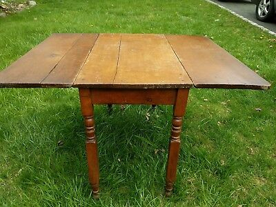 Antique Primitive Distressed - Drop Leaf Country Table- GREAT GREAT Grandmothers