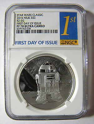 2016 Star Wars Classic Niue $2 Proof Silver R2-D2 NGC PF70 First Day oF Issue
