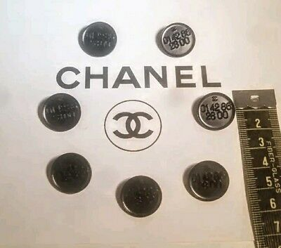 "NEW Rare Authentic 7 Black Metal Chanel Buttons ""CC"" Logo &"" 01 42 86 28 00"""