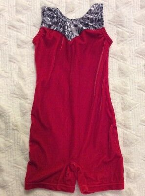 Garland Active Wear Girls Red Velvet With Gray Leopard Tank Biketard Child Small