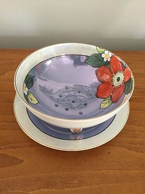 Large 2 Pc Vintage Round Soap Dish W/ Drip Water Catch Tray Floral Design