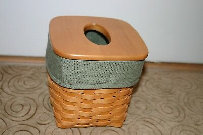 Longaberger  2000 Tall Tissue Basket Set W/ Sage Liner