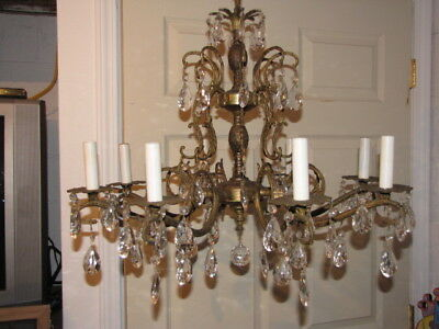 VINTAGE  BRASS and CRYSTAL DOUBLE PINEAPPLE TRIPLE TIER CHANDELIER Hollywood