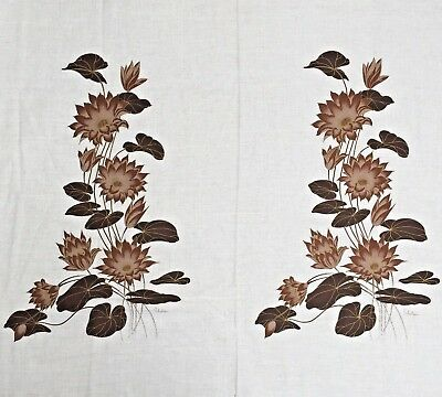 Alfred Shaheen Vintage Hawaiian Floral Fabric Panel Warm Tone Browns Gold Signed