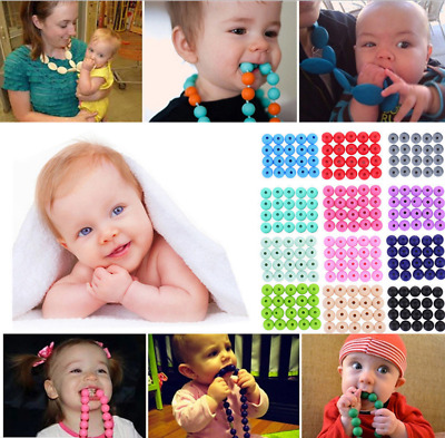 20Pcs Round Silicone Teething Beads Baby Jewelry DIY Chewable Necklace Teether