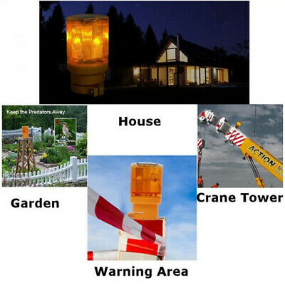 Solar Powered Alarm Security Post Caution Flash Warning LED Light Red Lamp