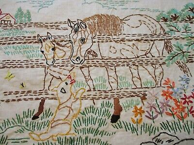 Vtg 1930s Pillow Top Embroidered Horses Dog Country Farmhouse Flowers 17 x 18 In